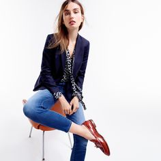 J.Crew Looks We Love: women's double-breasted blazer, Collection secretary bow blouse in dalmatian print, Lookout high-rise crop jean in Mariner wash and Biella crackled leather loafers.