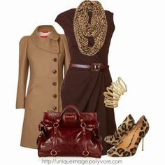 Classy Outfit, brown dress, lighter brown coat