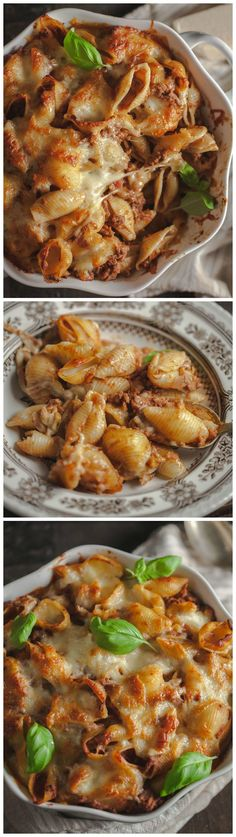 Shells smothered in pesto, meat sauce and mozzarella make for the most requested dinner ever! Recipe via vikalinka.com.