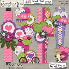 She Plays - Border Clusters :: Page Edges :: Embellishments :: SCRAPBOOK-BYTES