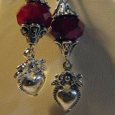 Valentine perfect heart milagro earrings with red glass by ElSol, $10.00
