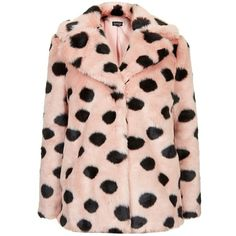 Women's Topshop Polka Dot Faux Fur Coat (€145) ❤ liked on Polyvore featuring outerwear, coats, jackets, fur, tops, pink fake fur coat, pastel pink coat, pink coat, pink oversized coat and topshop coats