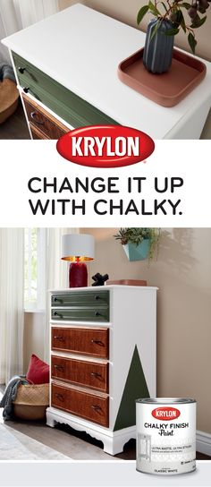 Create a look that's top drawer with Krylon® Chalky Finish. Diy Home Furniture, Diy Furniture Projects, Furniture Makeover, Painted Furniture, Diy Projects, Bedroom Furniture, Spray Paint Crafts, Spray Paint Projects, Chalky Finish Paint