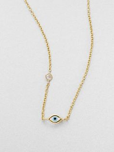 Sydney Evan Diamond Enamel and 14K Yellow Gold Mini Evil Eye Necklace