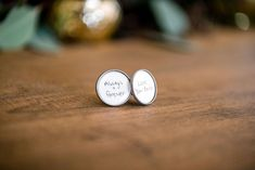 These one of a kind cuff links make a great personalized gifts for him! Your handwriting on his cufflinks!! Yes, thats right! Simply message me a photo of your personalized note (written on clean white paper, no lines please) and I will get that onto your cufflinks!! Can also do as a memorial gift