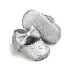 Heart and Bow Baby First Shoes