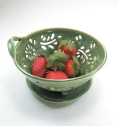 Ceramic Berry Bowl Colander with coaster dish handcarved flowers green. $35.00, via Etsy.
