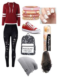 """""""Day at the beach"""" by serenityreigndavis on Polyvore featuring Converse, Adolfo Courrier, Chapstick and The North Face"""