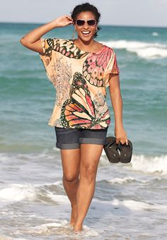 embellished butterfly knit top-Catos