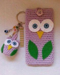 Owl crochet phone cover and key chain… portable, crochet phone cover, crochet case Crochet Phone Cover, Crochet Case, Crochet Purses, Crochet Gifts, Free Crochet, Crochet Shawl, Simple Crochet, Hand Crochet, Pochette Portable