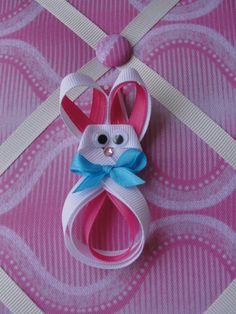 Items similar to Easter Bunny Ribbon Sculpture Hair Clip on Etsy Ribbon Hair Clips, Ribbon Art, Ribbon Crafts, Ribbon Bows, Cute Crafts, Crafts For Kids, Holiday Hair Bows, Ribbon Projects, Ribbon Sculpture