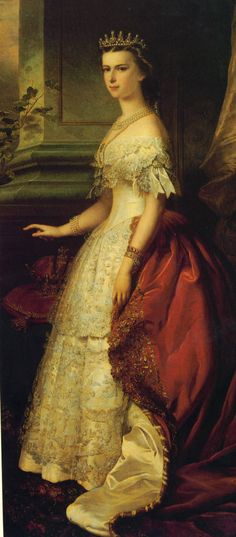 Details of the coat and lace ruffles of the sleeves can be seen in this detail from the portrait of Sissi by Patricius Kittner. Empress Sissi, Windsor, Kaiser Franz, She's A Lady, Fairytale Fashion, Elisabeth, Period Outfit, Royal Jewels, Historical Clothing