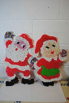 vintage plastic melted popcorn Christmas decorations set of 3 on eBay from missrubyb