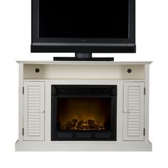 SEI Antebellum Media Console with Electric Fireplace, Antique White Classic cottage styling, a distressed antique white finish and multipurpose functionality Electric Fireplace With Storage, Electric Fireplace Reviews, Built In Electric Fireplace, Fireplace Media Console, Fireplace Mantel, Cool Tv Stands, Flat Panel Tv, Fireplace Accessories, Wall Outlets