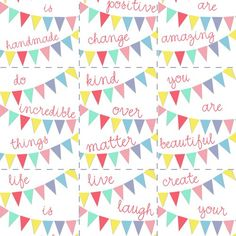 kind over matter: Freebie Alert : Printable Positive Bunting Art! Printable Planner, Planner Stickers, Free Printables, Printable Tags, Tampons, Free Prints, Project Life, Smash Book, Journal Cards