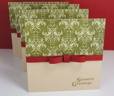Holiday Christmas Cards Olive Damask Bordeaux Ribbon Gold Seasons Greetings Set of 4 $10.00