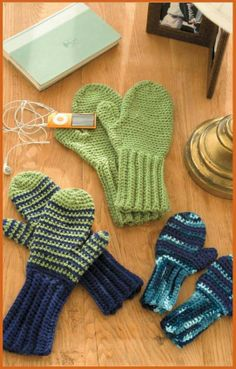 Some mittens from the Hats & Handwarmers for the Family crochet book! Click the photo to find the book on LeisureArts.com (eBook for $4.99 Print book $5.99)
