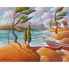 Windy North Pine Cottage Retreat Summer Red Canoe  C. Horvath