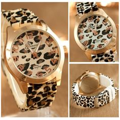 Geneva Women Watch Leopard Stainless Steel Quartz Analog Wrist Watch
