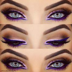 Eine Zusammenfassung unserer bevorzugten farbigen Eyeliner-Looks This purple graphic eye by is so striking. She used NYX's Extreme Purple Liquid Liner, and added Liquid Crystal Pink Liner for that sparkle. - Schönheit von Make-up Pretty Makeup, Love Makeup, Makeup Inspo, Makeup Art, Makeup Inspiration, Makeup Tips, Beauty Makeup, Makeup Ideas, Makeup Tutorials