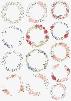 Vector watercolor wreaths, Wreath, Watercolor, Round PNG and Vector Planner Bullet Journal, Bullet Journal Ideas Pages, Watercolor Flower Wreath, Watercolor Paintings, Flower Art Images, Doodle Frames, Wreath Drawing, Flower Clipart, Journal Stickers