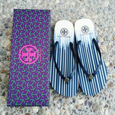 ✨✨{Tory Burch} Stripe Flip-flops Retired patterns, super cute. Color: black, blue, yellow, white... Brand new in box, never been worn. Please know/be familiar with your own Tory Burch sizing, these don't come in half size. ❗️Price is firm, even when bundled ❗️   ❌ No Trades/ No PayPal  ❌ No Lowballing  ✅ Bundle Discounts ✅ Ship Same or Next Day  % Authentic Tory Burch Shoes Sandals