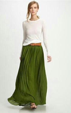 Green skirts love this green with white and t an belt