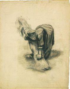 Vincent van Gogh: Peasant Woman Binding Sheaves Nuenen: July-September, 1885 (Amsterdam, Van Gogh Museum)