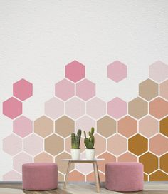 Items similar to Ombre Wall Decal, Removable Wall Art, 8 Self Adhesive Geometric Stickers on Etsy Room Wall Painting, Diy Painting, Wall Art, Bedroom Wall Designs, Bedroom Murals, Geometric Wall Paint, Art Mural, Wall Patterns, Wall Colors