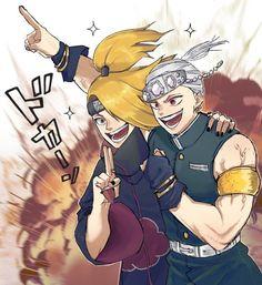 Bakugou y Deidara Otaku Anime, M Anime, Naruto Anime, Naruto Cute, Naruto Funny, Naruto Shippuden Anime, Fanarts Anime, Anime Meme, Anime Guys
