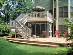 deck design with screen porch below   Deck & Screened Under Deck