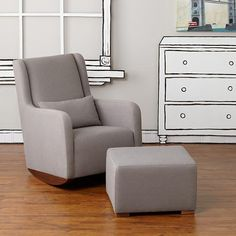 Marley Rocker & Ottoman (Grey)  | The Land of Nod