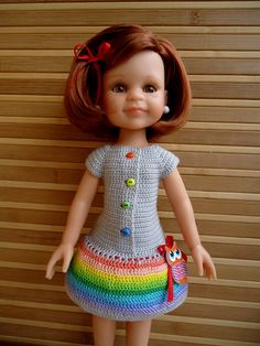 Crochet dress for Paola Reina doll. Испанские куклы Paola Reina