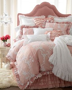 Pink headboard and linen. Very feminine!!! Bebe'!!! Love this elegant feminine pink bedroom design!!!