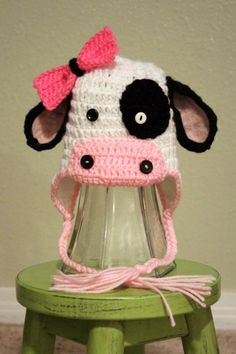 Crochet cow hat- love this Crochet Animal Hats, Crochet Cow, Crochet Kids Hats, Crochet Girls, Crochet Crafts, Yarn Crafts, Crochet Hooks, Crochet Projects, Knitted Hats