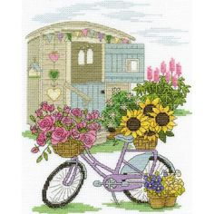 """Flowery Bicycle Counted Cross Stitch Kit-8""""X10"""" 14 Count"""