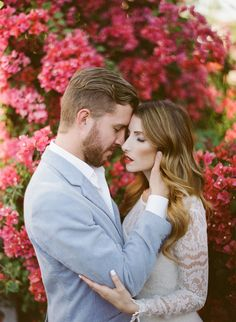 romantic embrace engagement session film photography love blue and pink magenta