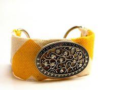 Yellow Chevron Cuff by gr8byz on Etsy, $25.00