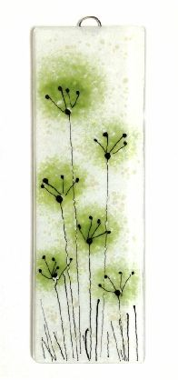 "Green abstract flower fused glass wall art handmade glass panel by Fired Creations 9"" x 3"" £18"
