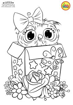 Cuties Coloring Pages for Kids - Free Preschool Printables - Slatkice Bojanke - Cute Animal Coloring Books by BonTon TV Monster Coloring Pages, Preschool Coloring Pages, Coloring Pages To Print, Animal Coloring Pages, Coloring Book Pages, Coloring Pages For Kids, Free Printable Coloring Sheets, Owl Artwork, Copics