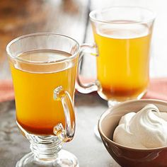 Rye whiskey and apple-cinnamon schnapps is sure to shake off your winter chill. Get our full Cinnamon-Pumpkin Toddy recipe here: http://www.bhg.com/recipes/drinks/seasonal/winter-drink-recipes/?socsrc=bhgpin120713cinnamonpumpkintoddy&page=6