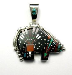 Image 0 of A++ Native American Navajo Inlaid Cosmic Bear Pendant, Ray Jack