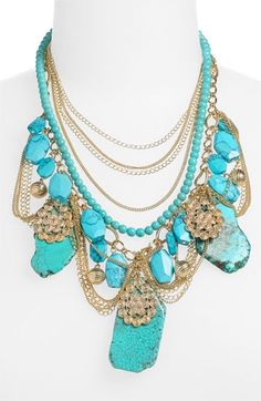 Turquoise Stone & Chain Statement Necklace