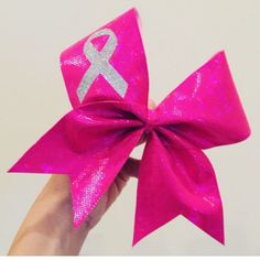 Pink Holographic Spandex Breast Cancer Ribbon Cheer Bows