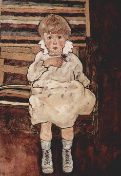 Egon Schiele : Sitting child // Painting