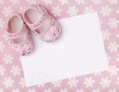 Photo about Blank card invite or announcement with baby girl shoes on a pastel pink floral background. Image of background, invite, announcement - 49959655 Pink Floral Background, Girl Background, Baby Girl Announcement, New Baby Announcements, Baby Girl Baptism, Baby Christening, Birthday Tarpaulin Design, Christening Invitations Girl, Baby Congratulations Card