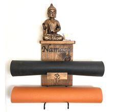 Double yoga mat holder with Custom Carved Namaste, handmade double yoga mat holder with Custom Carved Namaste and shelf, yoga rack