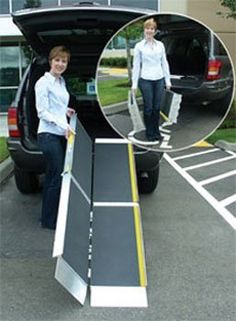 Folding Ramps Trifold Advantage Series Portable Wheelchair Ramps - 7 Feet by EZ Access. $270.00. Folding Ramps Trifold Advantage Series Portable Wheelchair Ramps with its unique 3-fold design, offers the length required for wheelchairs and scooters to easily access steps, vehicles, and raised landings. The ramp is designed to be used and carried as a set, or if desired, can be quickly separated into two individual sections, making it even easier to use, carry, and sto...