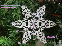 My way boredom: Śnieżynka 2 - formula Needle Tatting Patterns, Alchemy Symbols, Tatting Lace, Snowflakes, Needlework, Free Pattern, Jewelry Making, Wreaths, Christmas Ornaments