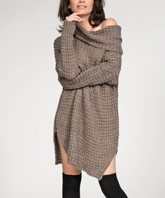 Look at this Numinou Cappuccino Waffle Cowl Neck Dress on today! Winter Maternity Outfits, Pregnancy Outfits, Cowl Neck Dress, High Neck Dress, Cold Weather Fashion, Winter Tops, What To Wear, Cute Outfits, Womens Fashion